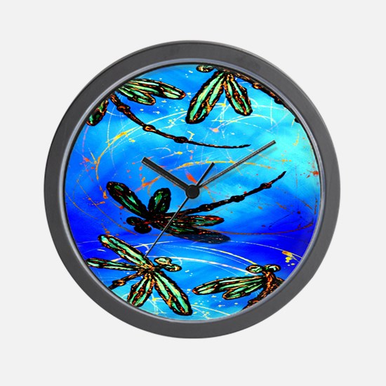 Dragonfly Flit Electric Blue Wall Clock