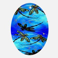 Dragonfly Flit Electric Blue Oval Ornament