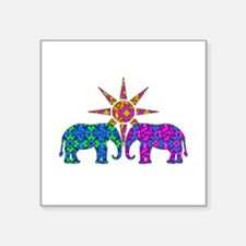 Colorful Paisley Elephant Love Sticker