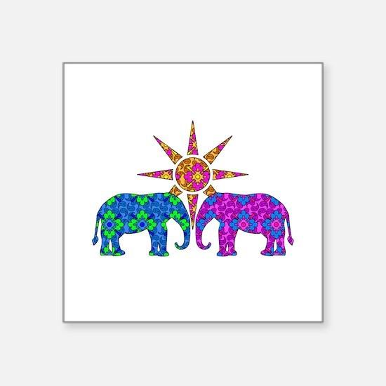 Colorful Paisley Elephant Love Sticker