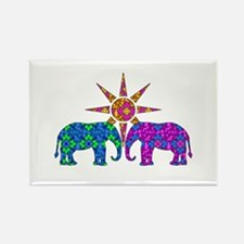 Colorful Paisley Elephant Love Magnets