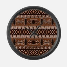 Brown And Tan Aztec Pattern Large Wall Clock