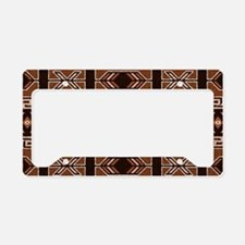 Brown And Tan Aztec Pattern License Plate Holder
