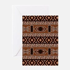 Brown And Tan Aztec Pattern Greeting Cards