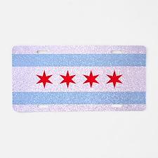 Chicago Flag Glitter Aluminum License Plate