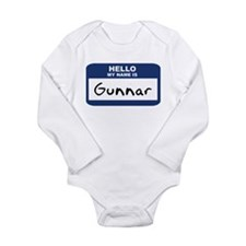 Unique Hello name tag Long Sleeve Infant Bodysuit