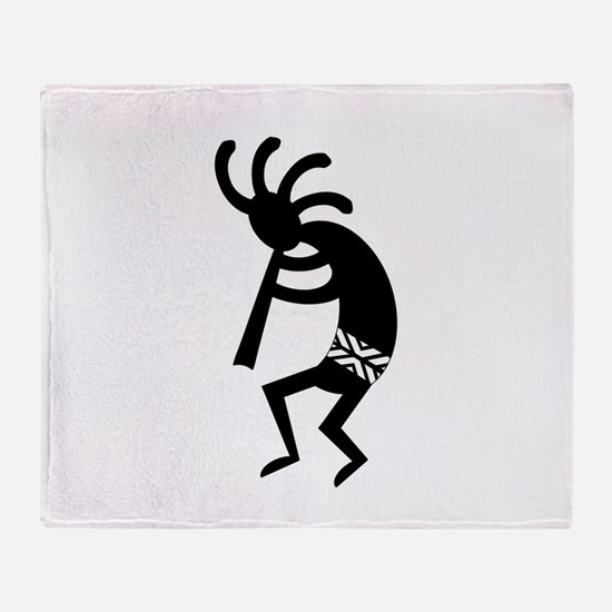 Black And White Kokopelli Throw Blanket