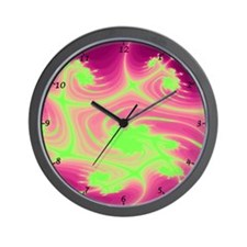Psychedelic Hippy Wall Clock in fluoro green/pink