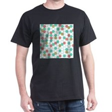 Mint Coral Gold Hexagon Honeycomb Scatter T-Shirt