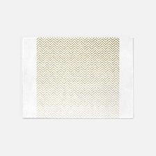 Gold Sparkle Ombre Chevron Stripes 5'x7'Area Rug