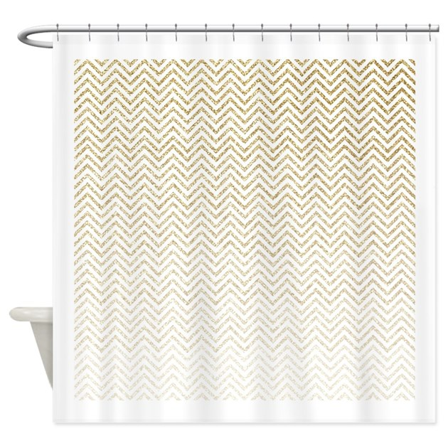Gold Sparkle Ombre Chevron Stripes Shower Curtain By Patterndesigns