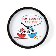 Owl always luv you Wall Clock
