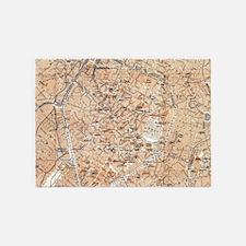 Vintage Map of Brussels (1905) 5'x7'Area Rug