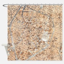 Vintage Map of Brussels (1905) Shower Curtain
