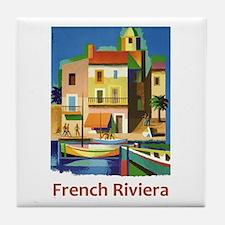 French Riviera ~ Vintage Travel Tile Coaster