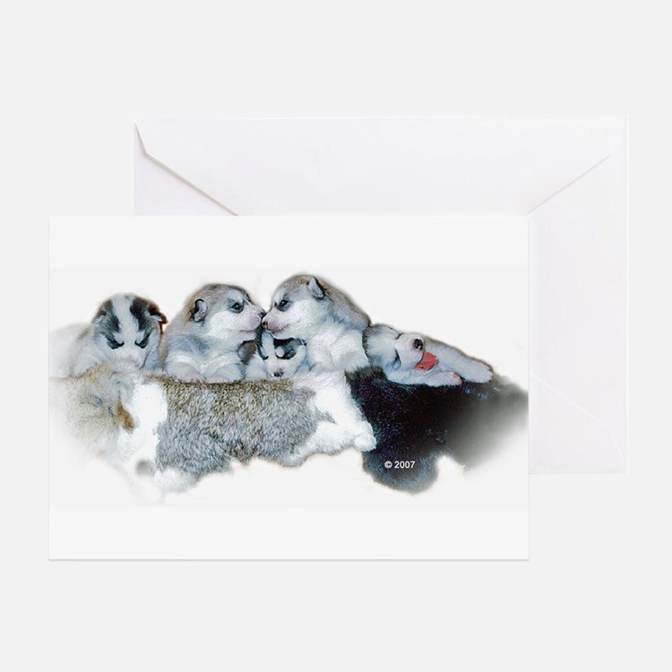 A Quintet of Sibe Pups Greeting Card