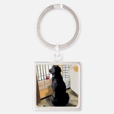 Ajax Watches the World Go By Square Keychain