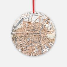 Vintage Map of Bruges (1905) Round Ornament