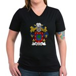 Barron Family Crest Women's V-Neck Dark T-Shirt