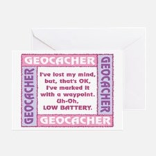 Pink Geocacher Lost Mind Greeting Card