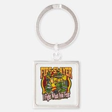 Fire Slayer Firefighter Square Keychain