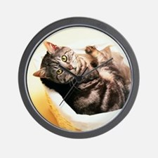 Tabby in Basket Wall Clock