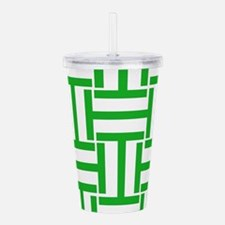 Green and White T Stripes Acrylic Double-wall Tumb
