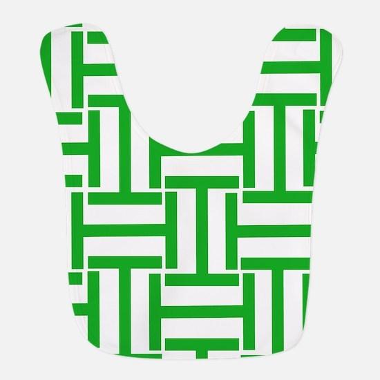 Green and White T Stripes Bib
