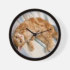 Reclining Kitten Wall Clock