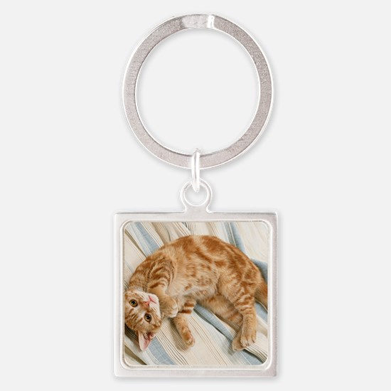 Reclining Kitten Square Keychain