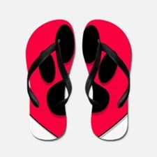 Red Heart With Dog Paw Print Flip Flops