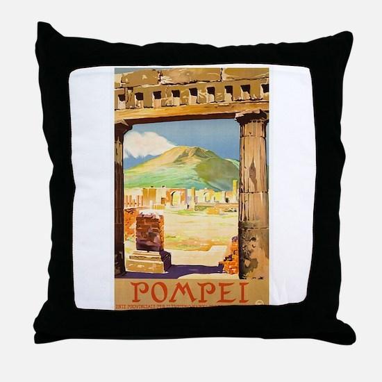 Pompei Italy ~ Vintage Travel Throw Pillow