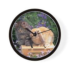 Kitten and Bunny Friends Wall Clock