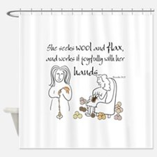proverbs 31_13v2.png Shower Curtain