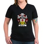 Barbena Family Crest Women's V-Neck Dark T-Shirt