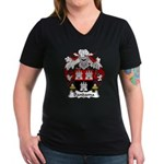 Bandama Family Crest  Women's V-Neck Dark T-Shirt