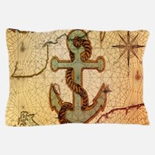 vintage nautical map anchor Pillow Case