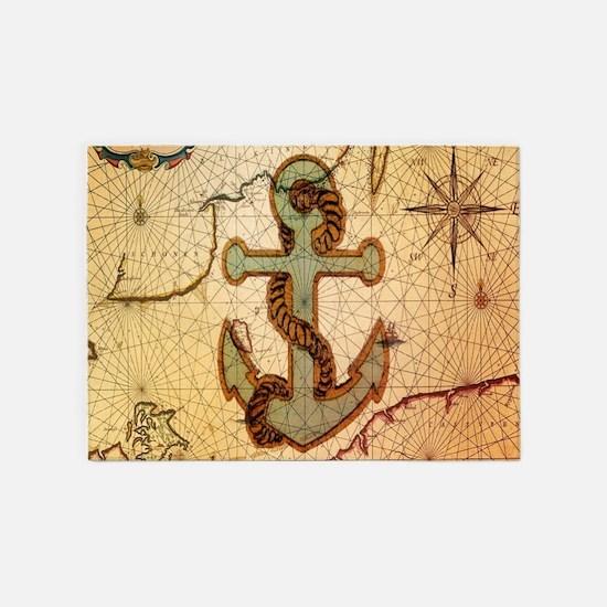 vintage nautical map anchor 5'x7'Area Rug