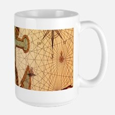 vintage nautical map anchor Mugs