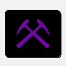 Purple Crossed Rock Hammers Mousepad