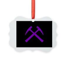 Purple Crossed Rock Hammers Ornament