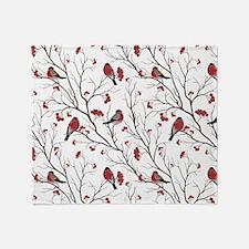 Winter Birds White Throw Blanket