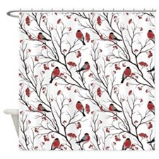 Winter Birds White Shower Curtain