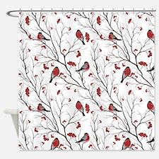 Winter Birds White Shower Curtain