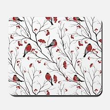 Winter Birds White Mousepad