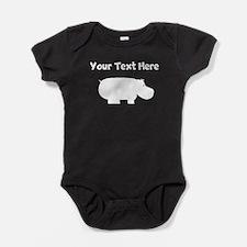 Custom Hippopotamus Silhouette Baby Bodysuit