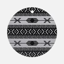 Black And White Aztec Pattern Round Ornament