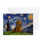 Starry / Dachshund Greeting Cards (Pk of 20)