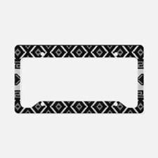Black And White Aztec Pattern License Plate Holder