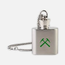 Green Crossed Rock Hammers Flask Necklace